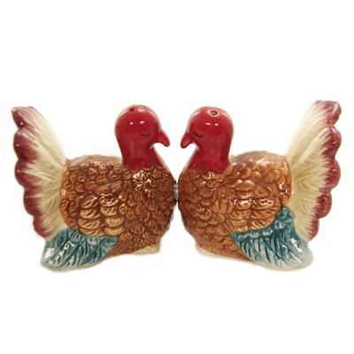 """Tabletop 2.25"""" Kissing Thanksgiving Turkey S/2 Salt Pepper Shaker Magnetic Pacific Trading  -  Salt And Pepper Shaker Sets"""