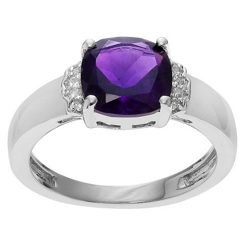 1 1/2 CT. T.W. Cushion-Cut Amethyst Accent Prong-Set Ring in Sterling Silver - Purple (5) - image 1 of 2