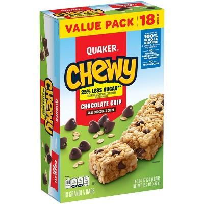 Quaker Chewy Reduced Sugar Choc Chip - 15.2oz/18ct