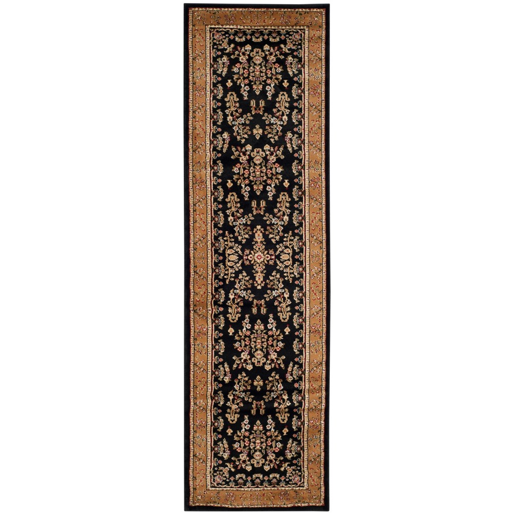 2'3X12' Loomed Floral Runner Rug Black - Safavieh, Black/Tan