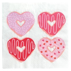 30ct Donut Heart Pattern Lunch Napkins - Spritz™