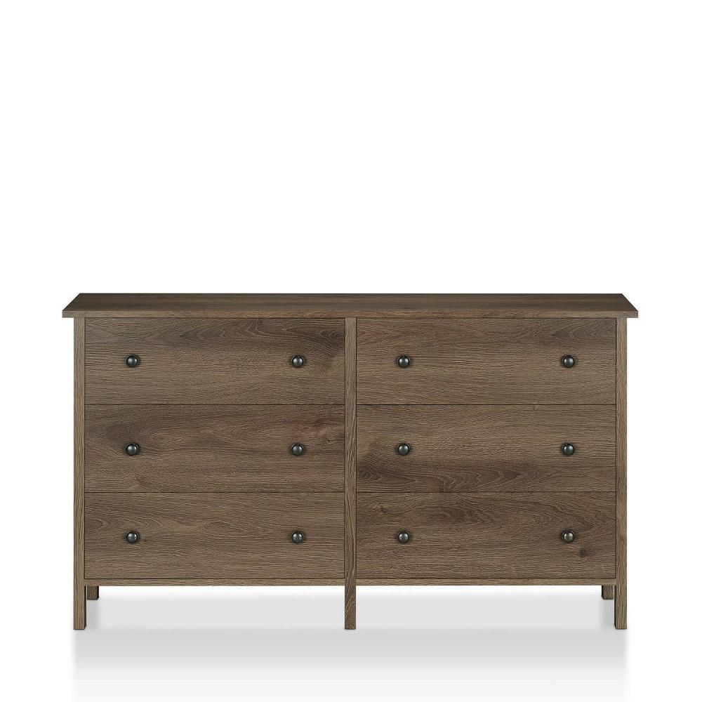 Ceclila 6 Drawer Dresser Distressed Walnut - Sun & Pine