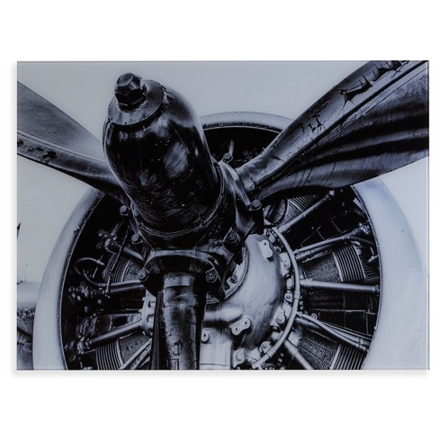 Old Aircraft Propeller Engine Glass Wall Art - Black and White - Aiden Lane - image 1 of 3