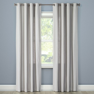 "95""x54"" Natural Solid Curtain Panel Gray - Threshold™"
