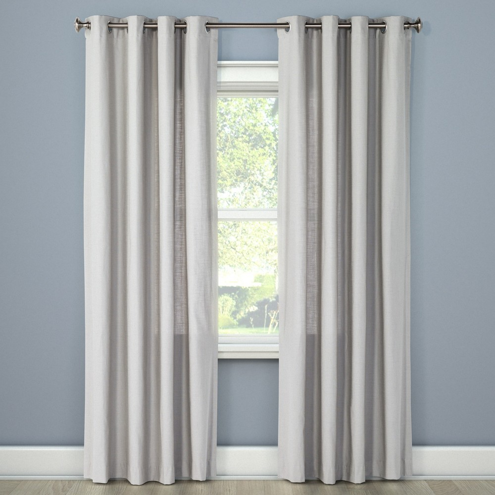 Natural Solid Curtain Panel Gray (54
