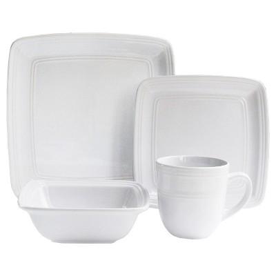 American Atelier® Square Stoneware 16pc Dinnerware Set White
