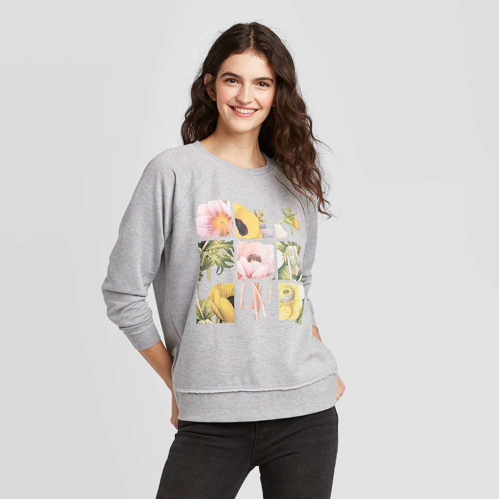 Image of Women's Floral Print Squares Sweatshirt - Doe (Juniors') - Gray S, Women's, Size: Small