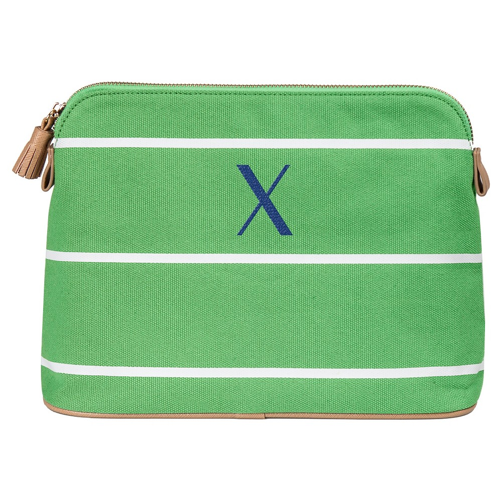 Personalized Green Striped Cosmetic Bag - X