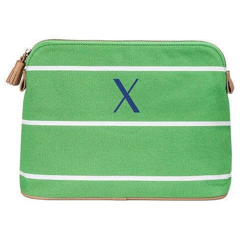 1bd43fe93ccd Personalized Green Striped Cosmetic Bag - X   Target