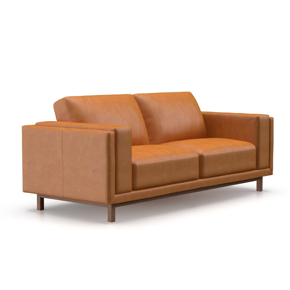 Theo Modern Faux Leather Sofa HoneyTan - AF Lifestlye, Tan