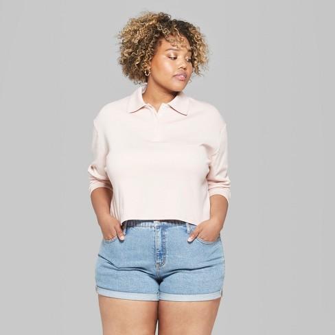 Womens Plus Size Long Sleeve Boxy Polo Shirt Wild Fable Blush