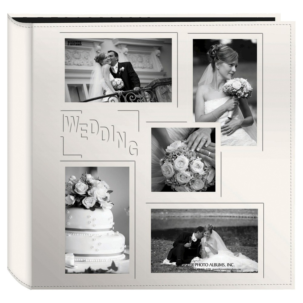 Image of Embossed Collage Frame 5 Up Photo Wedding Album, Beige
