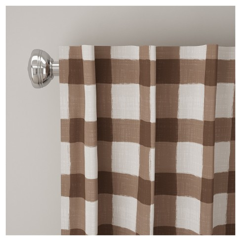 Unlined Buffalo Check Curtain Panel Brown 50 X120 Skyline Furniture Target