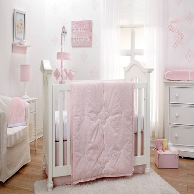 NoJo Chantilly Nursery Crib Bedding Set - Pink and White 4pc