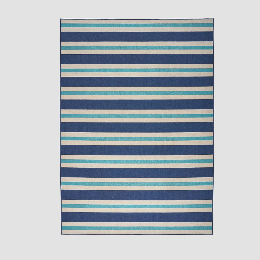 8' x 11' Ronan Geometric Outdoor Rug Blue/Ivory - Christopher Knight Home