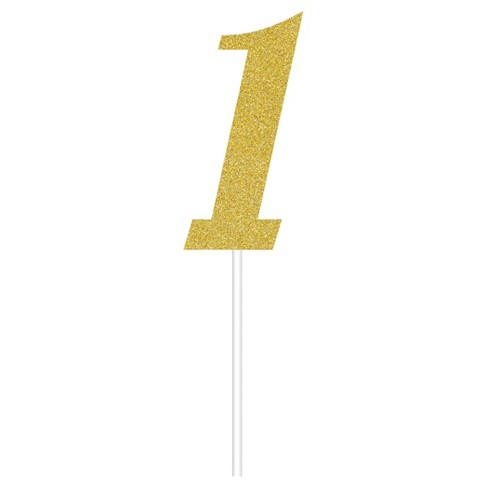 Gold Number One Cake Topper - image 1 of 1