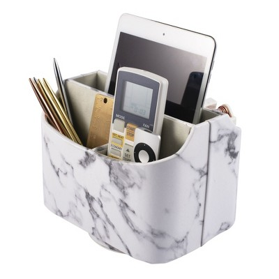 Zodaca Marble Print Desk Organizer, 360 Degrees Rotate Remote Control Holder, Faux Leather