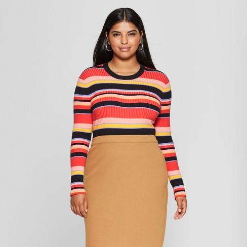 2e8f2f3dbba Women s Plus Size Striped Long Sleeve Crew Sweater - Who What Wear ...