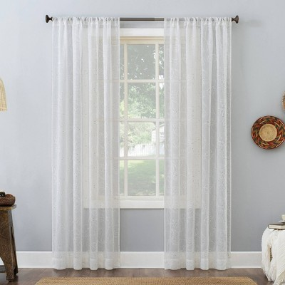 Delilah Embroidered Floral Semi-Sheer Rod Pocket Curtain Panel - No. 918