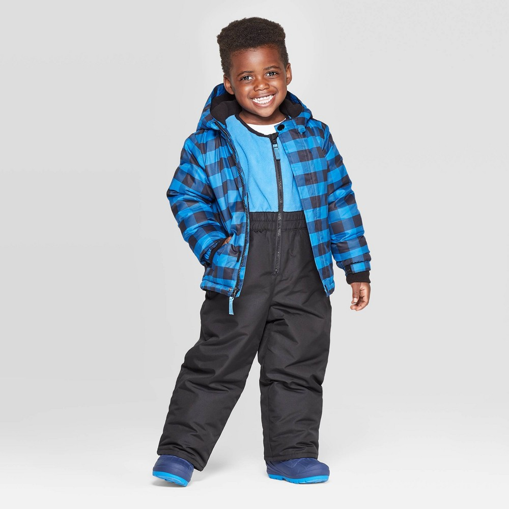Image of Toddler Boys' Coat & Bib Set - Cat & Jack Blue 12M, Boy's