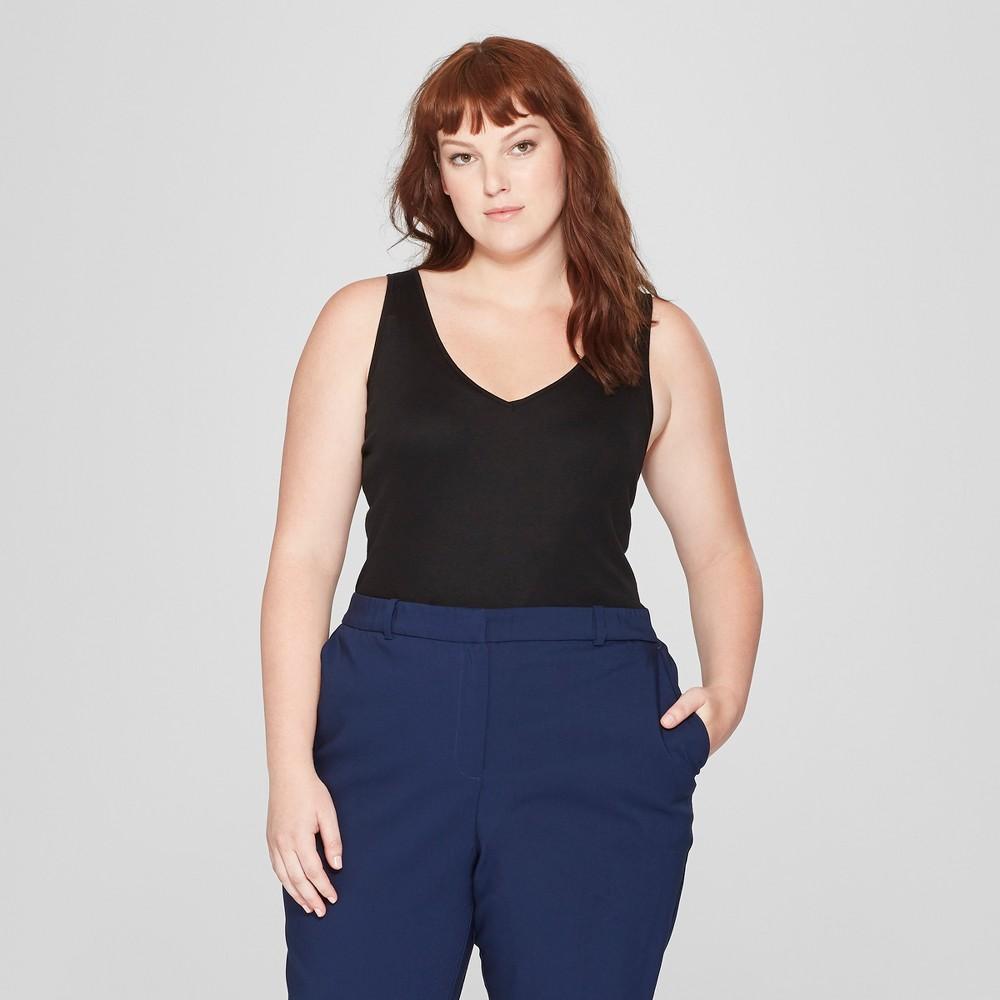 Women's Plus Size Sleeveless V-Neck Tank Top - Prologue Black 3X