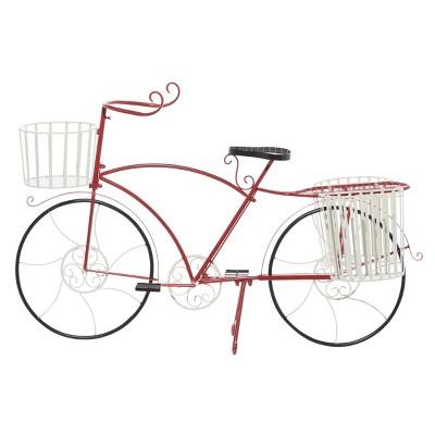 Large Rectangular Metal Bicycle Planter Red - Olivia & May
