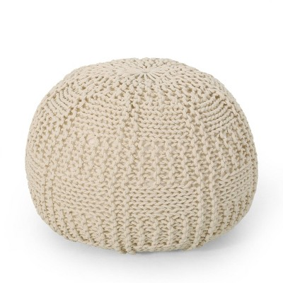 Hortense Modern Knitted Cotton Round Pouf - Christopher Knight Home