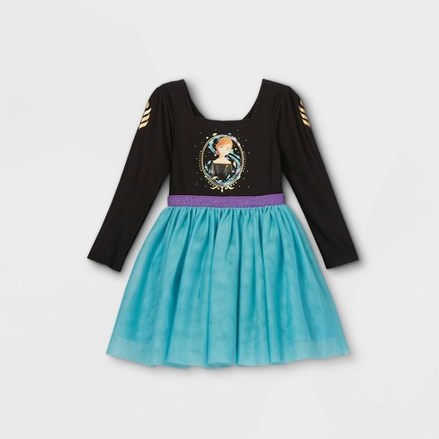 Toddler Girls' Disney Frozen Anna Long Sleeve Tutu Dress - Black - image 1 of 2