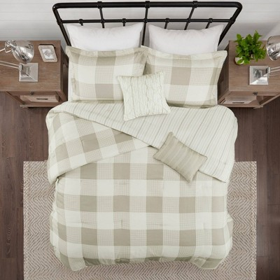 Full/Queen 5pc Levon Reversible Buffalo Check Comforter Set Taupe