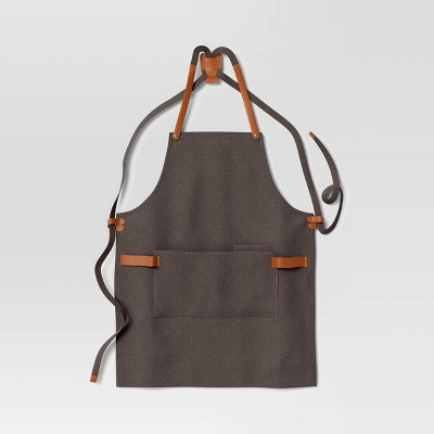 Full Apron Waxed Canvas with Leather Gray - Hilton Carter for Target