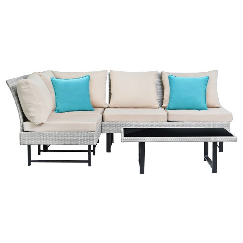 Aleron 4pc All-Weather Wicker Patio Sectional Set - Beige/Teal - Safavieh - image 1 of 1
