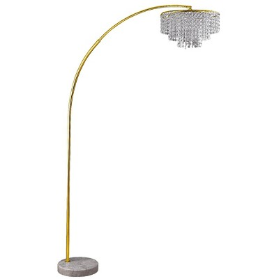 """86"""" Antique Large Arc Metal Floor Lamp with Chandelier Shade Gold - Ore International"""