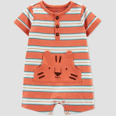 Baby Boys' Tiger Striped Romper - Just One You® made by carter's Orange
