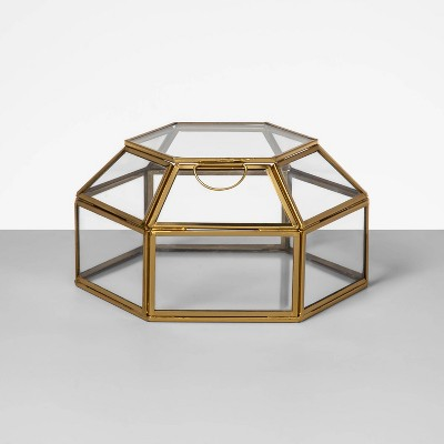 "7.7"" x 4.2"" Decorative Glass Display Box Gold - Opalhouse™"