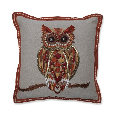 Hoot Throw Pillow Orange/Gold/Bronze - Pillow Perfect