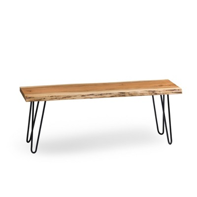Alaterre Furniture Hairpin Natural Brown Live Edge Wood with Metal Bench