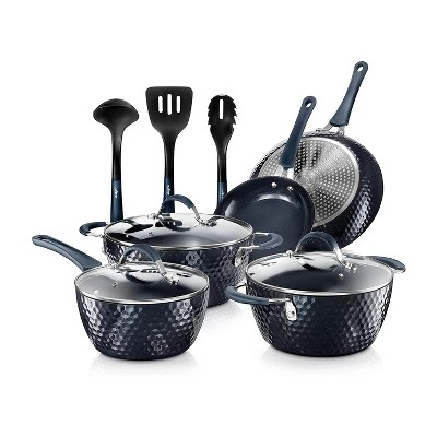 NutriChef 11 Piece Nonstick Ceramic Diamond Pattern Cooking Kitchen Cookware Pots and Pan Set with Lids and Utensils, Dark Blue