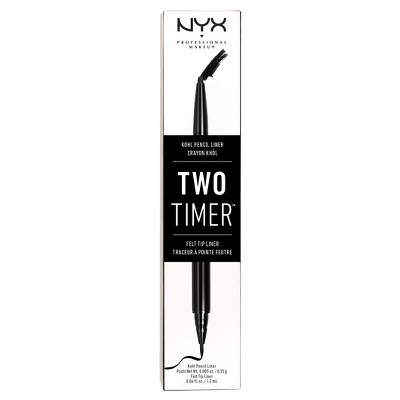 NYX Professional Makeup Two Timer Dual Ended Eye Liner Black - 0.45oz