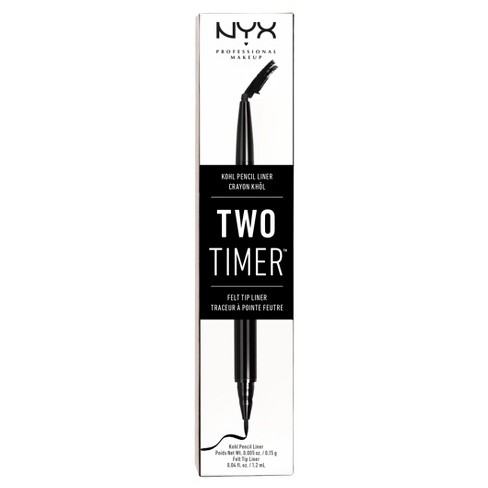NYX Professional Makeup Two Timer Dual Ended Eye Liner Black - 0.45oz - image 1 of 3