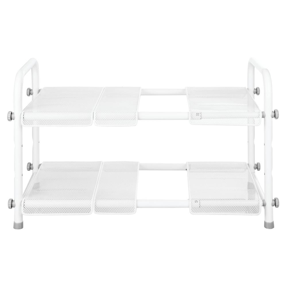 InterDesign Under Sink Organizer with Adjustable Shelf Silver, White