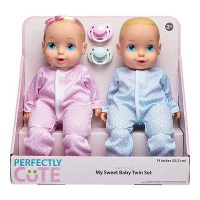 "Perfectly Cute 14"" My Sweet Baby Girl & Boy Doll Twin Set - Blonde with Blue Eyes"