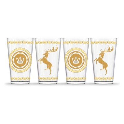 Game of Thrones Baratheon Pint Glasses 16oz - Set of 4