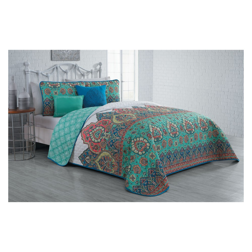 Image of 5pc King Livia Quilt Set Jade (Green) - Avondale Manor