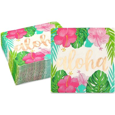 """Sparkle and Bash 50 Pack Aloha Hawaiian Disposable Paper Napkins 5"""" for Luau Birthday Party Decorations"""