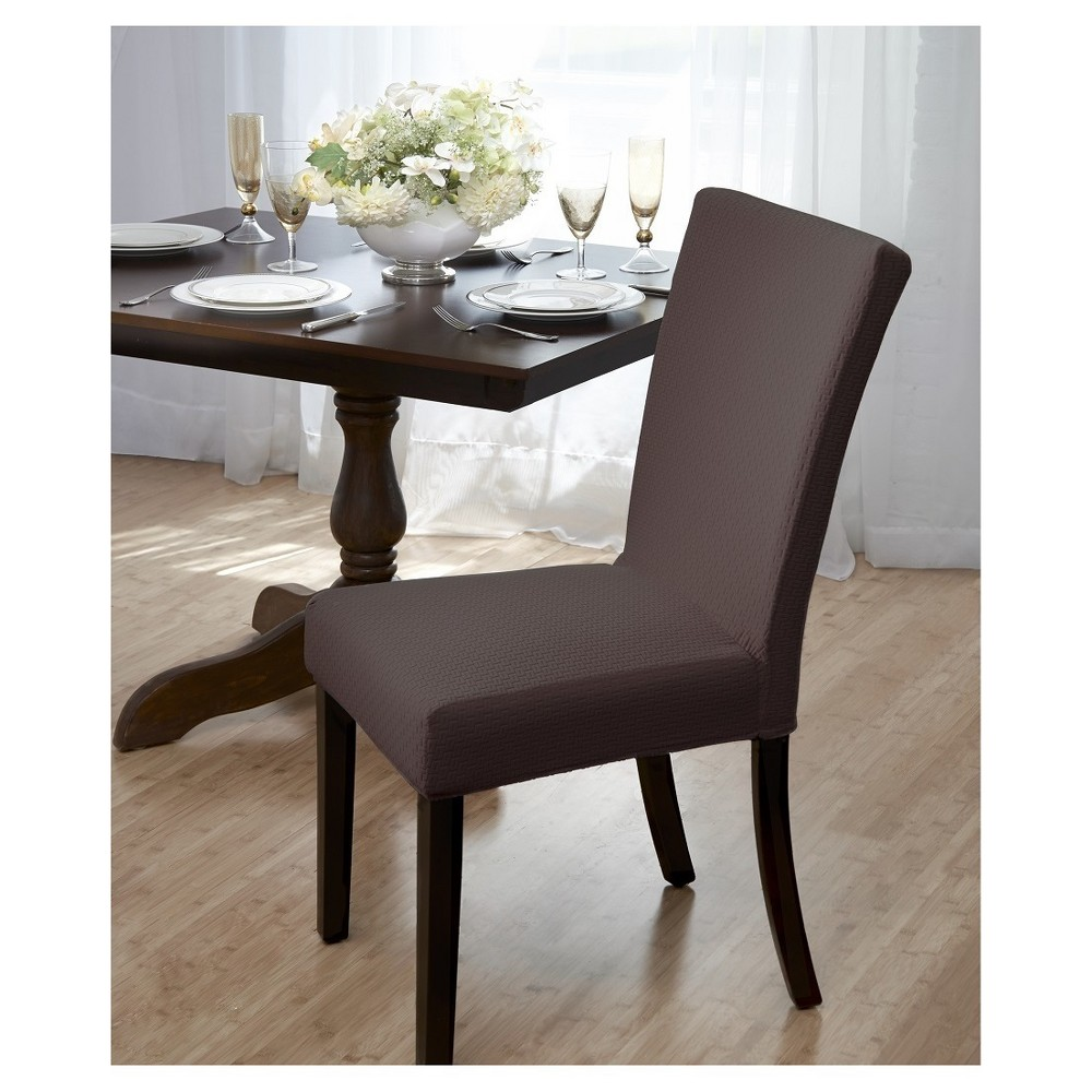 Image of Brown Subway Dining Room Chair Cover - Madison