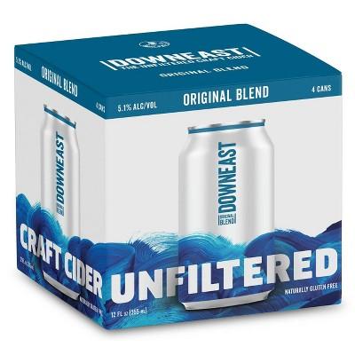 Downeast Original Blend Unfiltered Hard Cider - 4pk/12 fl oz Cans