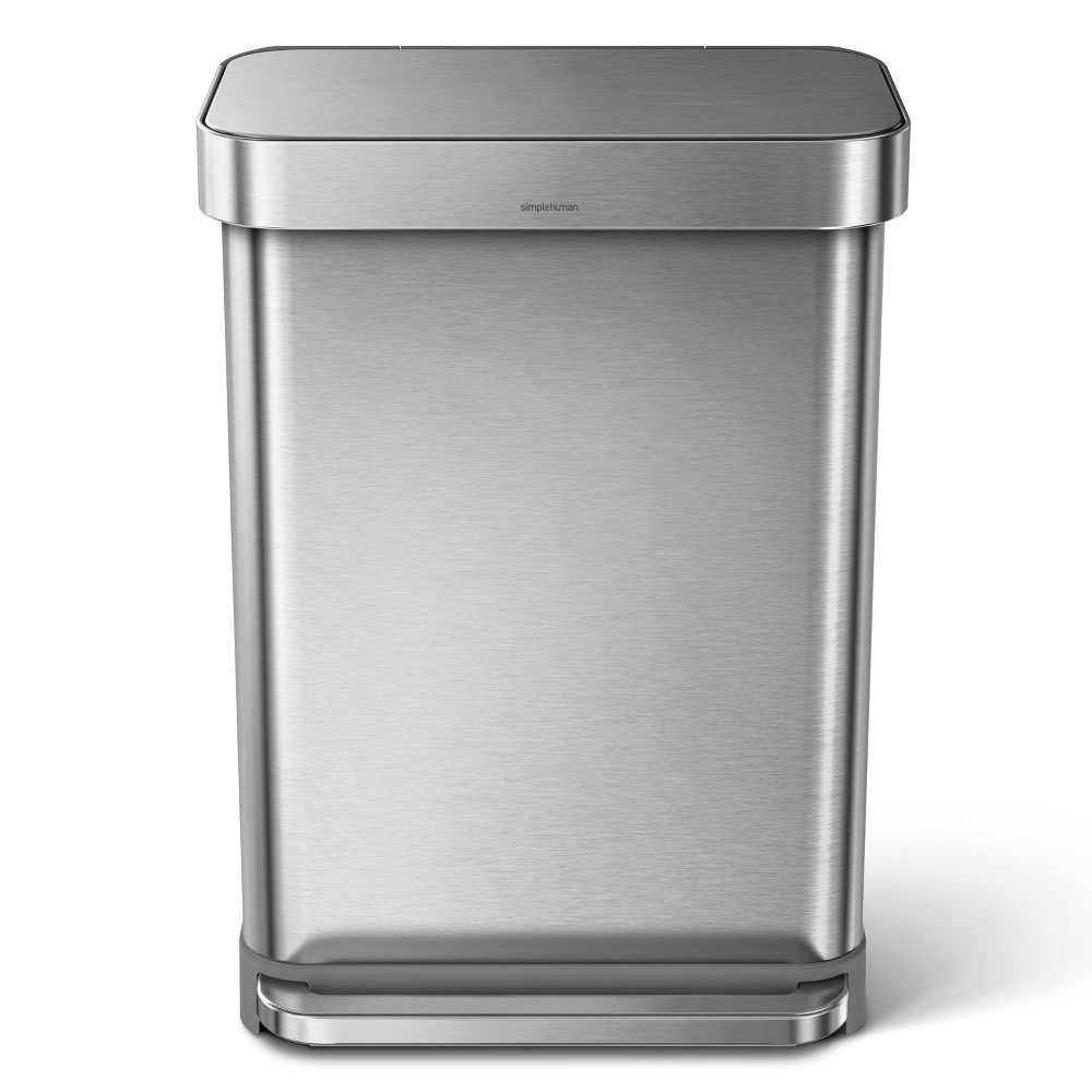Image of simplehuman 55 ltr Rectangular Step Trash Can Brushed Stainless Steel
