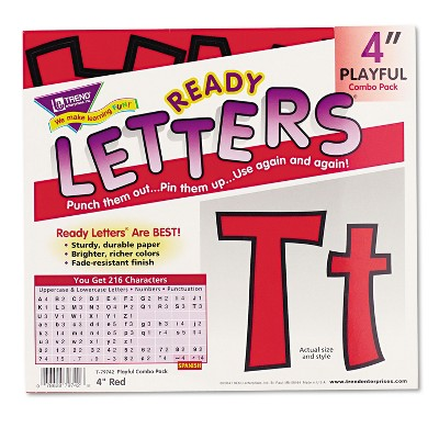 "Trend Ready Letters Playful Combo Set Red 4""h 216/Set T79742"