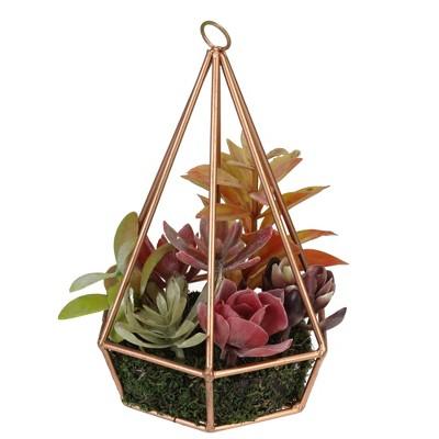 "Northlight 9"" Succulent Artificial Arrangement In Copper Wire Terrarium   Green/Brown by Green/Brown"