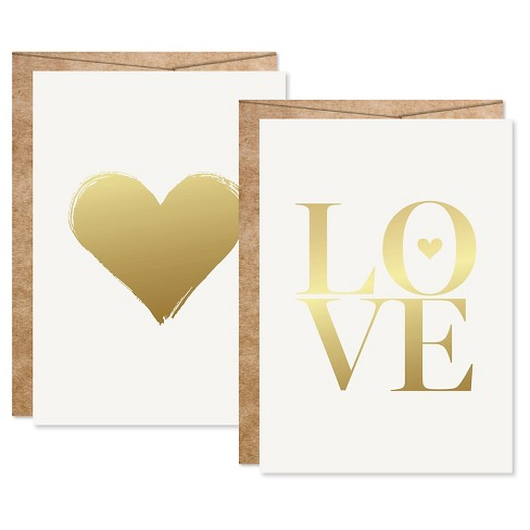 2ct Heart Sahped Love Foil Art Cards Gold - image 1 of 4